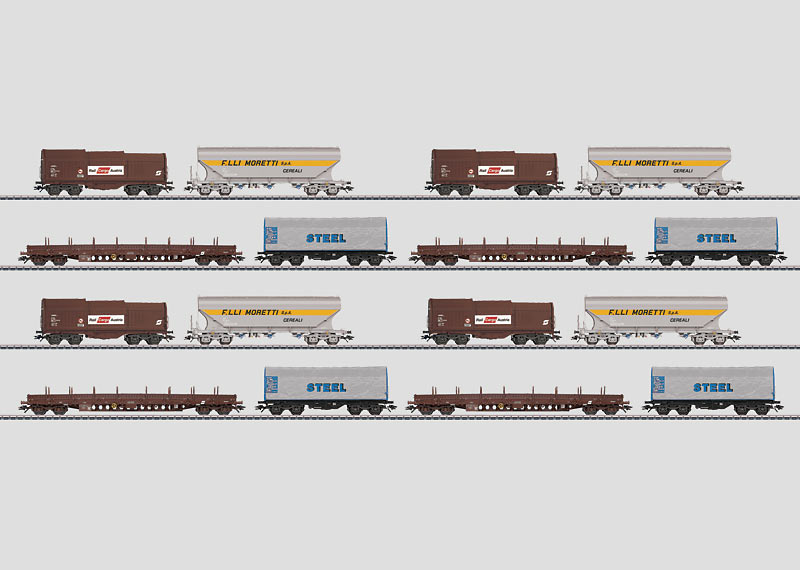 Set with 16 Freight Cars in a Display.