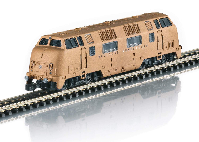 Diesellocomotief serie V 200 van echt brons
