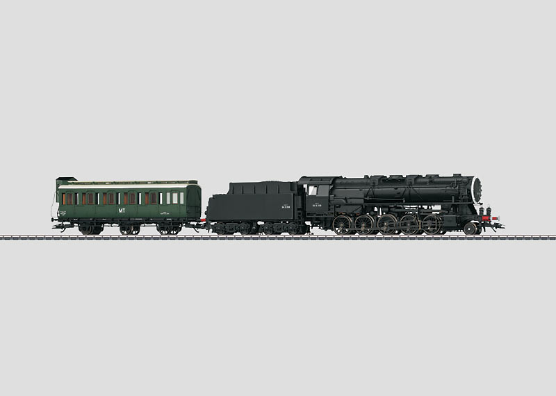 Locomotive with a Tender and a Crew Car.