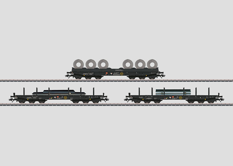 Set with 12 Heavy-Duty Flat Cars in a Display.