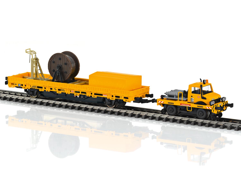 Zweiwege-Unimog mit Fahrleitungsbauwagen