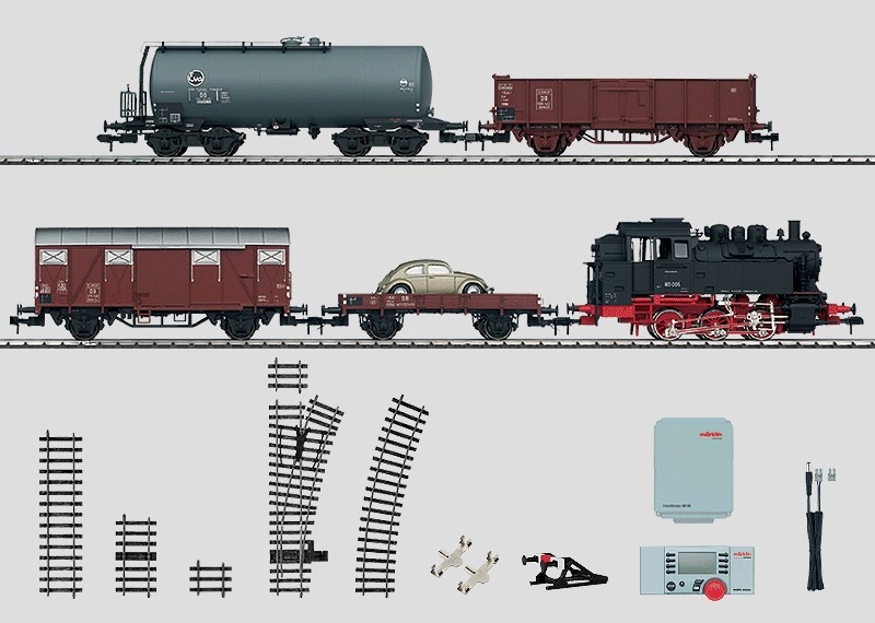 Digital Starter Set, 230 Volts. Freight Train with a Track Layout, Transformer, and a Mobile Station.