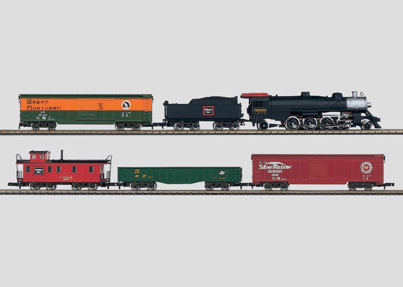 American Starter Set. 120 Volts. Freight Train Starter Set with a Track Layout and a Power Pack.