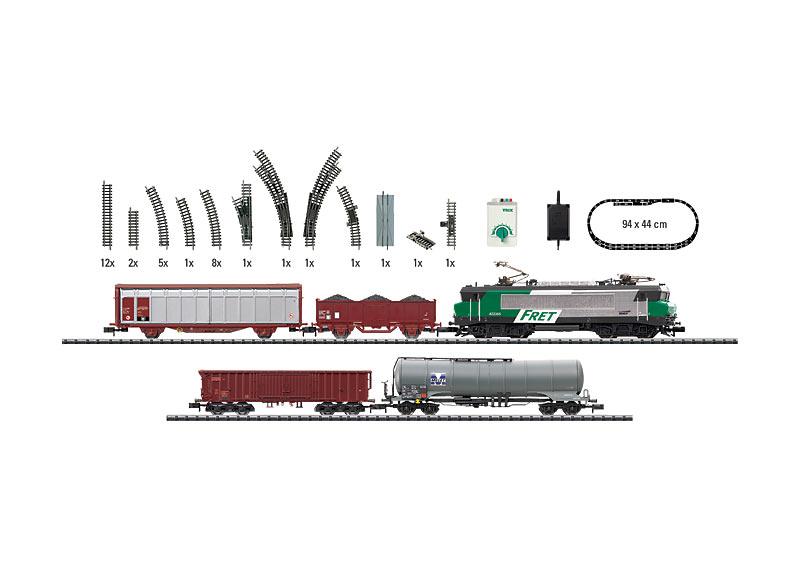 """Start-Set """"FRET SNCF"""" mit Güterzug, Gleisanlage und Fahrgerät."""