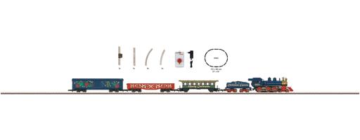 Weihnachts-Startpackung 120 Volt. Güterzug mit Gleisoval und entsprechender Stromversorgung