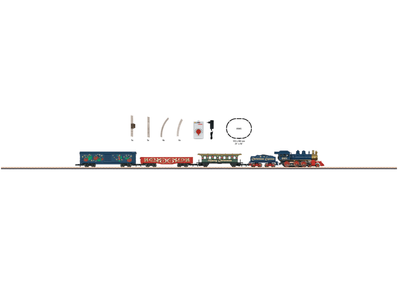 Christmas Starter Set. 120 Volts. Freight Train with an Oval of Track and the Right Power Pack