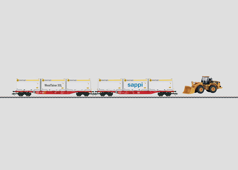 Flat Car Set for Containers with Type XXL WoodTainer Containers.