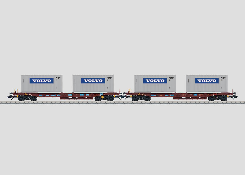Set with 2 Loaded Deep Well Flat Cars.