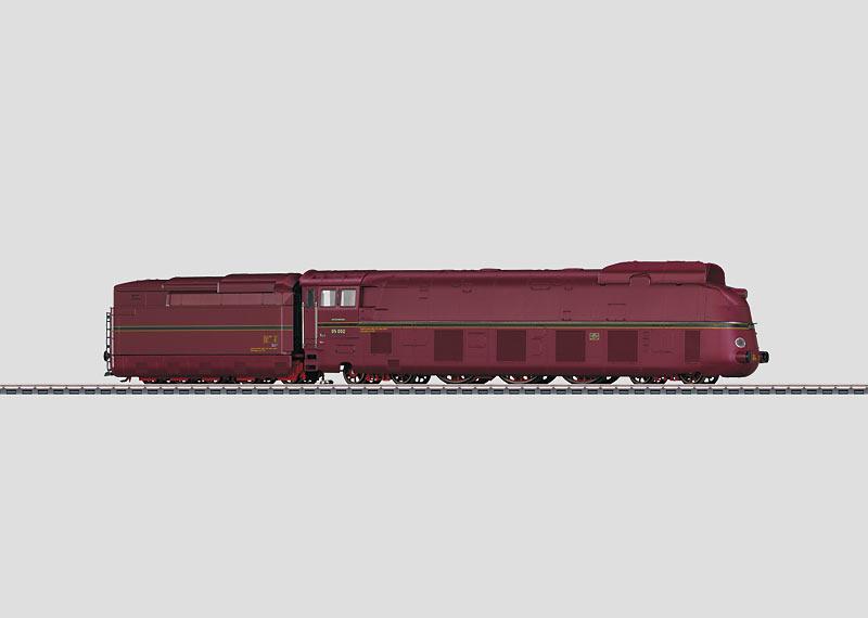 Stromlinien-Dampflokomotive mit Schlepptender.