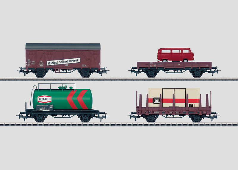 Set with 24 Freight Cars in a Display.