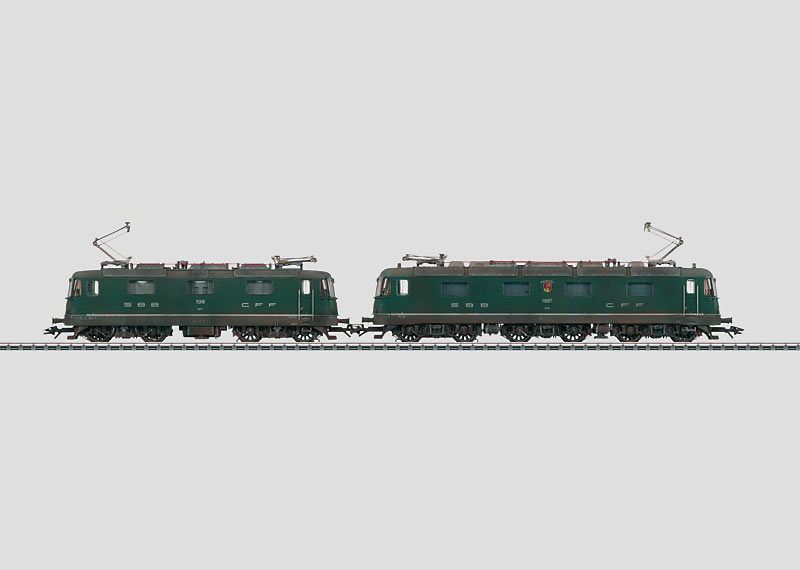 """Weathered """"Re 10/10"""" Double Electric Locomotive Set."""