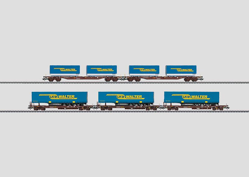 Tragwagen-Set mit LKW-Sattelaufleger und -Wechselpritschen.