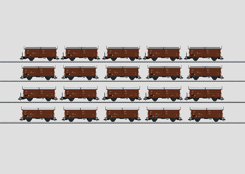 Display with 20 Type Tes-t-58 Kmmgks Freight Cars.